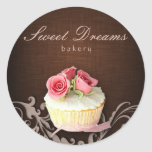 Cupcake Bakery Sticker Linen Brown Pink Roses
