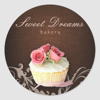 Cupcake Bakery Sticker Linen Brown Pink Roses