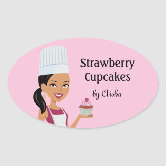 Cupcake Bakery Sticker with Character Design #1