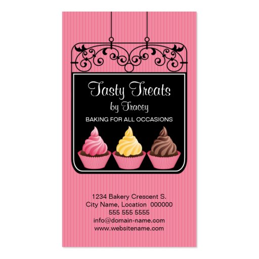 Cupcake Bakery Storefront Sign Business Cards (front side)