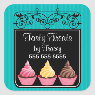 Cupcake Bakery Storefront Sign Square Stickers