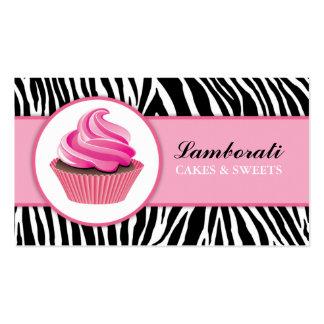 Cupcake Bakery Zebra Print Pink Elegant Modern Business Card