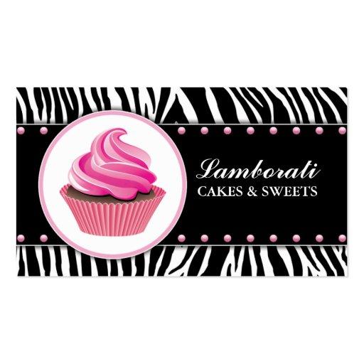 Cupcake Bakery Zebra Print Pink Elegant Modern Business Card Template