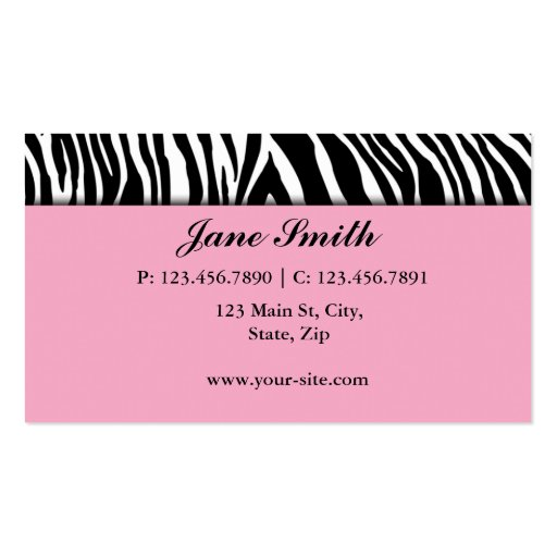 Cupcake Bakery Zebra Print Pink Elegant Modern Business Card (back side)