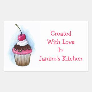 Cupcake: Baking Labels: Oil Pastel Art Rectangular Sticker