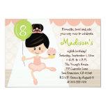 Cupcake Ballerina Birthday Asian Dark Hair 5x7 Paper Invitation Card
