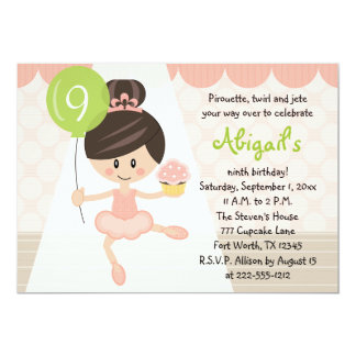 Cupcake Ballerina Birthday Brunette Card