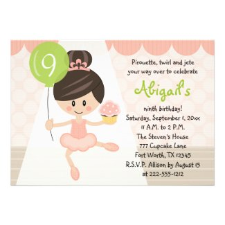 Cupcake Ballerina Birthday Brunette Custom Invitations