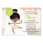 "Cupcake Ballerina Birthday Invitation African Amer 5"" X 7"" Invitation Card"