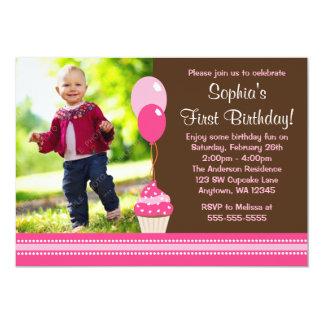 Cupcake Balloons Brown Pink Photo Birthday 5x7 Paper Invitation Card