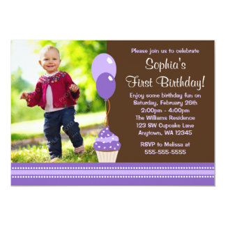 Cupcake Balloons Brown Purple Photo Birthday 5x7 Paper Invitation Card