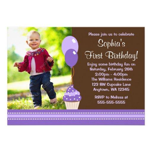 Cupcake Balloons Brown Purple Photo Birthday Personalized Invite