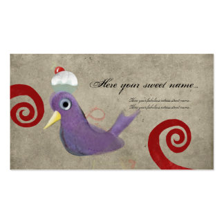 Cupcake bird dove purple red swirl business card