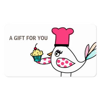Cupcake Bird Gift Card, Certificate, D12-052115 Double-Sided Standard Business Cards (Pack Of 100)