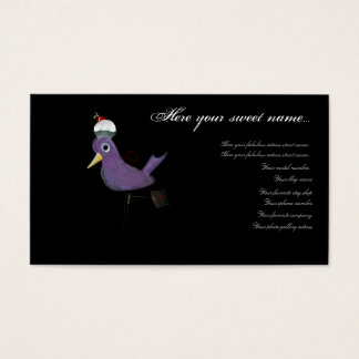 Cupcake bird grape purple elegance  business card