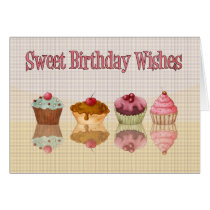 Cupcake Birthday Card - Sweet Birthday Wishes
