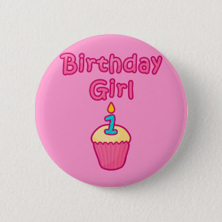 Cupcake Birthday Girl 1 Pinback Button