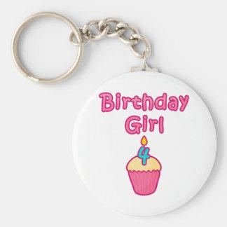 Cupcake Birthday Girl 4 Basic Round Button Keychain