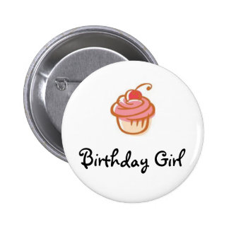 cupcake, Birthday Girl - Customized Pinback Button