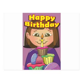 Cupcake birthday girl postcard