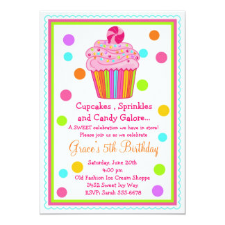 "Cupcake Birthday Invitation 5"" X 7"" Invitation Card"