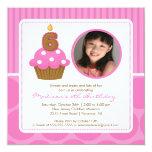 Cupcake Birthday Invitation 6th Birthday Pink