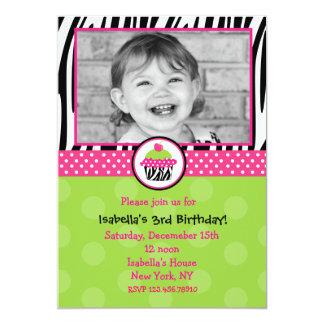 "Cupcake Birthday Invitations with Photo 5"" X 7"" Invitation Card"