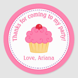 Cupcake Birthday Party Favor Tag Sticker