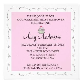 Cupcake Birthday Sleepover Personalized Invite