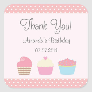 Cupcake Birthday Thank You Stickers