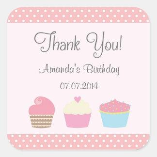 Cupcake Birthday Thank You Stickers