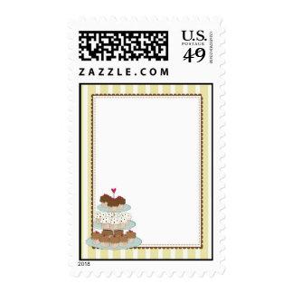 Cupcake Border Yellow Postage Stamps