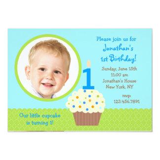 "cupcake Boy Photo Birthday  Invitations 5"" X 7"" Invitation Card"