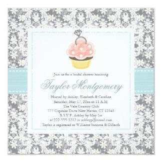 """Cupcake Bridal Shower Invitations 5.25"""" Square Invitation Card"""
