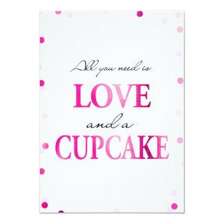 Cupcake Bridal Shower Sign | Pink Magenta Confetti Card