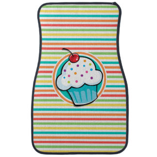 Cupcake; Bright Rainbow Stripes Car Mat