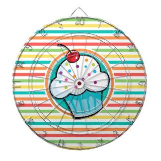 Cupcake; Bright Rainbow Stripes Dart Boards