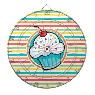 Cupcake; Bright Rainbow Stripes Dartboard