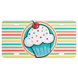 Cupcake; Bright Rainbow Stripes License Plate