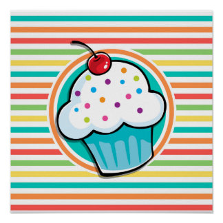 Cupcake; Bright Rainbow Stripes Poster