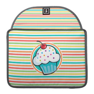 Cupcake; Bright Rainbow Stripes Sleeve For MacBooks
