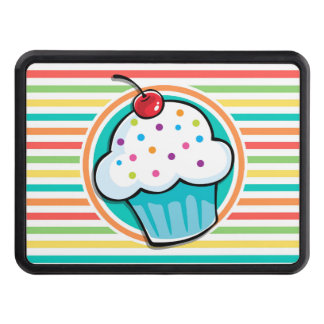 Cupcake; Bright Rainbow Stripes Tow Hitch Covers
