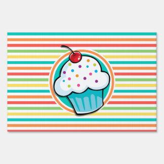 Cupcake Bright Rainbow Stripes Sign