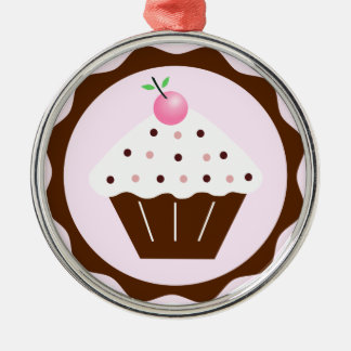 CUPCAKE BROWN & PINK METAL ORNAMENT