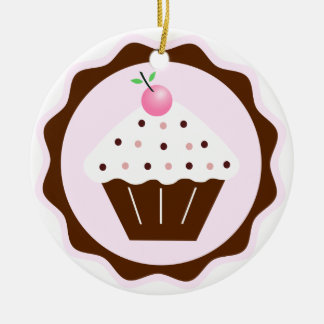 CUPCAKE BROWN & PINK Double-Sided CERAMIC ROUND CHRISTMAS ORNAMENT