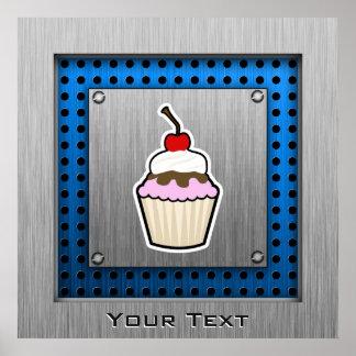 Cupcake Brushed metal-look Posters