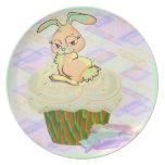 Cupcake Bunny Melamine Plate