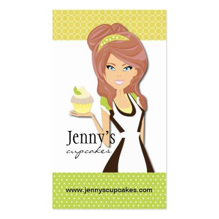Cartoon Female Baker Holding Cupcake Business Cards