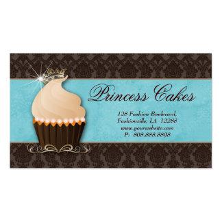 Cupcake Business Card Crown Blue Brown Damask