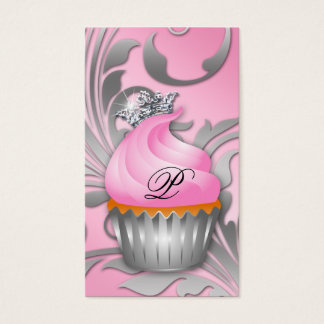 Cupcake Business Card Crown Classy Silver Pink